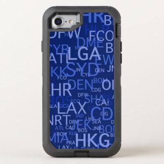 Häufiger Flyer-Flughafen kodiert Blau OtterBox Defender iPhone 8/7 Hülle