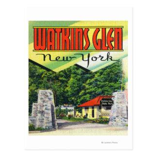 Haupteingangs-Ansicht zum Watkins Glen-Staats-Park Postkarte
