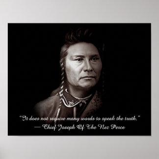 Hauptjoseph des Nez Perce amerikanischen Poster