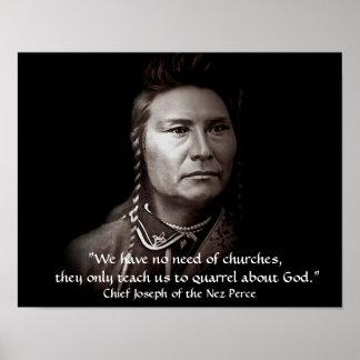 Hauptjoseph, die Nez Perce Ureinwohner-Klugheit Poster