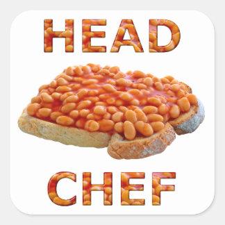 HauptKochs-Bohnen auf Toast Quadratischer Aufkleber