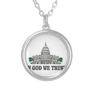 Hauptstadt im Gott, den wir vertrauen Versilberte Kette