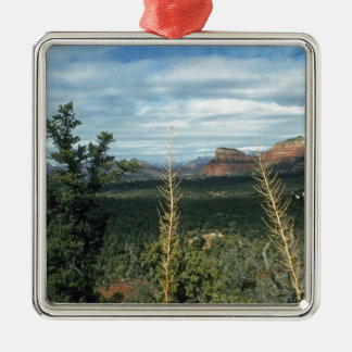 HauptstadtButte Sedona Arizona Quadratisches Silberfarbenes Ornament