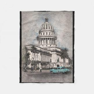 Hauptstadts-Gebäude-Antiken-Fahrzeug-Szene Fleecedecke