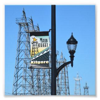 Hauptstraße, Kilgore, Texas, Öl-Derrickkräne Fotodruck