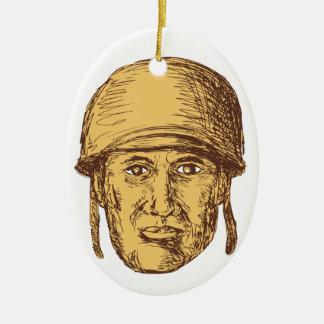 Hauptzeichnen des amerikanischen Soldat-WW2 Ovales Keramik Ornament