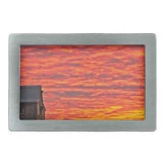 Haus an Sonnenuntergang - 2 Rechteckige Gürtelschnallen