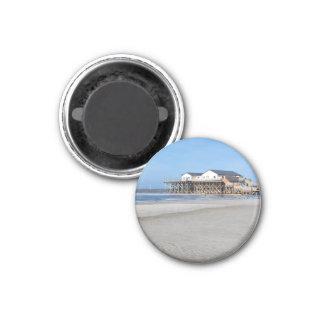 Haus auf Stelzen am Strand von St Peter Ording Runder Magnet 3,2 Cm