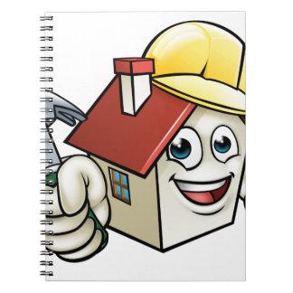 Haus-Bau-Maskottchen-Cartoon-Charakter Spiral Notizblock