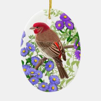 Haus-Fink in der Wildblumen-Feiertags-Verzierung Keramik Ornament