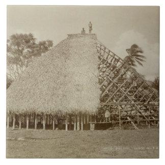 Haus-Gebäude in Samoa-Inseln, c.1875 (Sepia-Foto) Keramikfliese