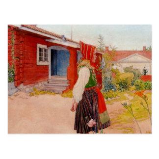 Haus in Falun mit Mädchen Postkarten