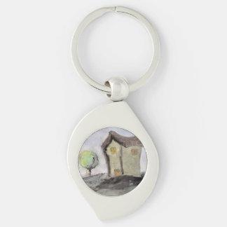 Haus mit Bäumen Schlüsselanhänger