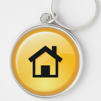 Haus SchlüsselKeychain Silberfarbener Runder Schlüsselanhänger
