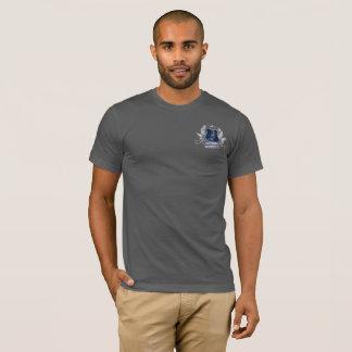 Haus silbernes Grau des Hammerhai-Wappen blauen T-Shirt