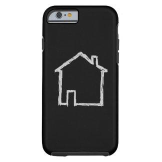 Haus-Skizze. Grau und Schwarzes Tough iPhone 6 Hülle