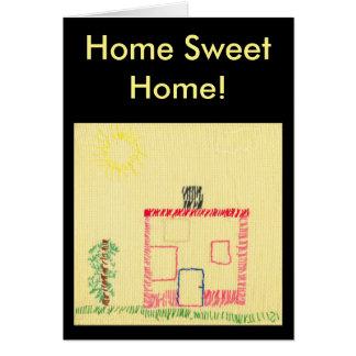 Haus und Baum, Stickerei durch ein Kind Karte
