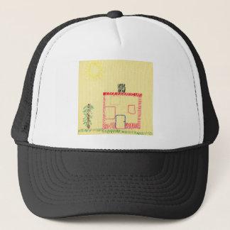 Haus und Baum, Stickerei durch ein Kind Truckerkappe