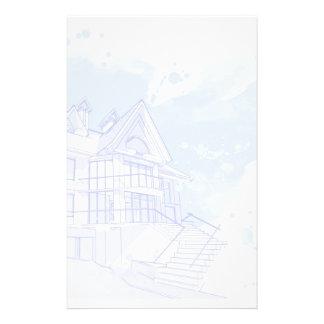 Haus: Watercolor zeichnen Individuelles Büropapier