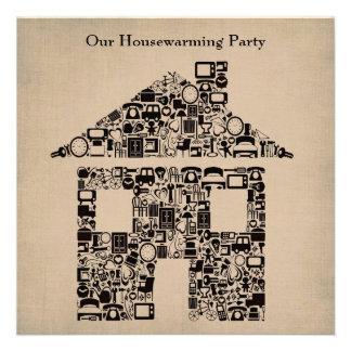 Haus-Zuhausehousewarming-bewegliche Party Einladun