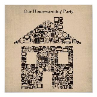 Haus-Zuhausehousewarming-bewegliche Party Quadratische 13,3 Cm Einladungskarte