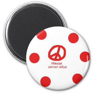 Hausa-Sprache und Friedenssymbol-Entwurf Runder Magnet 5,7 Cm