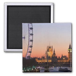 Häuser des Parlaments u. des London-Auges Quadratischer Magnet