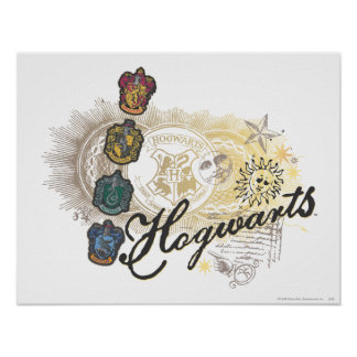 Häuser Harry Potters   Hogwarts - farbenreich Poster