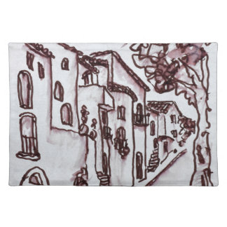 Häuser | Heilig-Guilhem-Le-Wüste, Frankreich Tischset