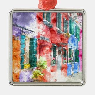 Häuser in Burano Italien nahe Venedig Silbernes Ornament