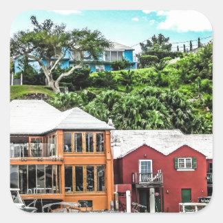 Häuser nähern sich Hamilton Quadratischer Aufkleber