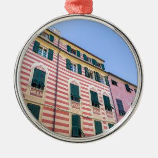Hausfassaden Monterosso Cinque Terre Ligurien Ital Silbernes Ornament
