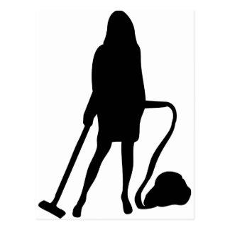 Hausfrau - Staubsauger - Reinigung Postkarte