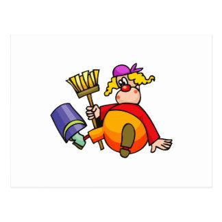 Hausmeister-Clown Postkarte
