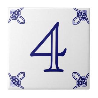 Hausnummer - spanisches Blau auf Weiß Keramikfliese
