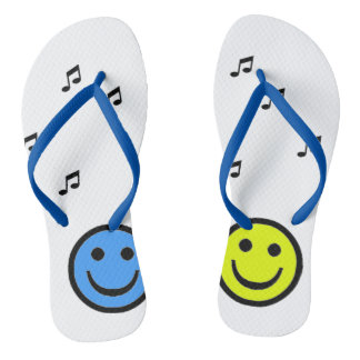 Hausschuh Blue and Yellow Smiley Music Flip Flops