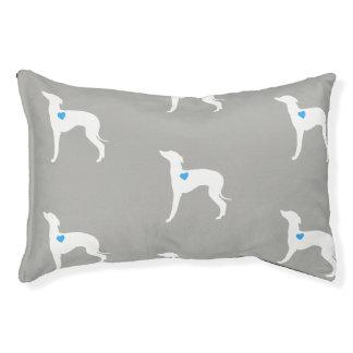 Haustier-Bett-italienischer Windhund mit blauem Haustierbett
