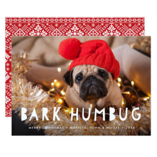 Haustier-Foto-Feiertags-Karte Barkehumbug-| 12,7 X 17,8 Cm Einladungskarte