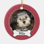 Haustier-Foto mit dem Hundeknochen - Doppeltes ver Weihnachtsbaum Ornamente