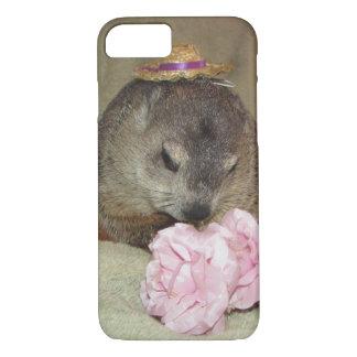 Haustier Groundhog Clara mit Blume iPhone 7 Hülle