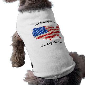 Haustier-Kleidung USA-Flaggen-Gott segnen Amerika T-Shirt