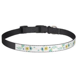 Haustier-Kragen mit gelbem Blumen-Grün-Blätter Haustierhalsband
