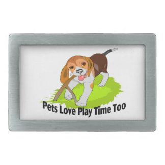 Haustier-Liebe-Spiel-Zeit auch Rechteckige Gürtelschnalle