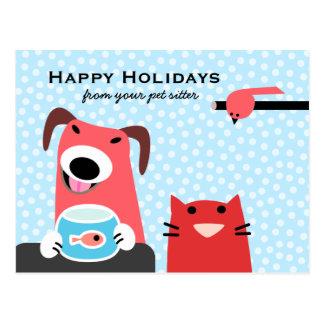 Haustier-Modells frohe Feiertage Postkarte
