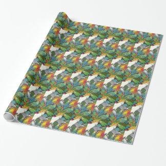 Haustier-Papageien im Bromeliad Geschenkpapier