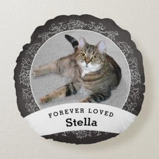 Haustier-personalisierte Erinnerungstafel addieren Rundes Kissen