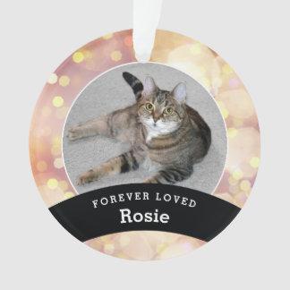 Haustier-personalisiertes Erinnerungsgold Bokeh Ornament