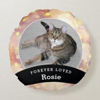 Haustier-personalisiertes Erinnerungsgold Bokeh Rundes Kissen