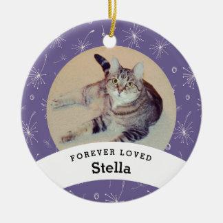 Haustier-personalisiertes Erinnerungslila addieren Rundes Keramik Ornament