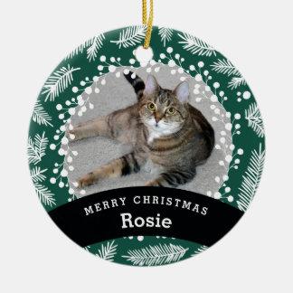 Haustier-personalisiertes immergrünes Weihnachten Keramik Ornament